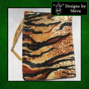 Tiger Print Plush Velvet Pouch Bag
